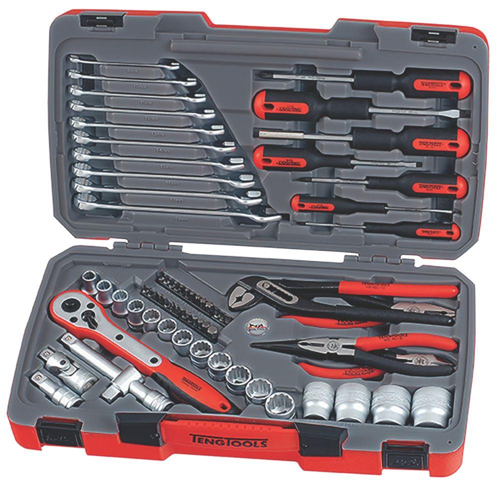 """Assortiment d'outils et de douilles à entraînement ½"""" Teng Tools 68pièces"""