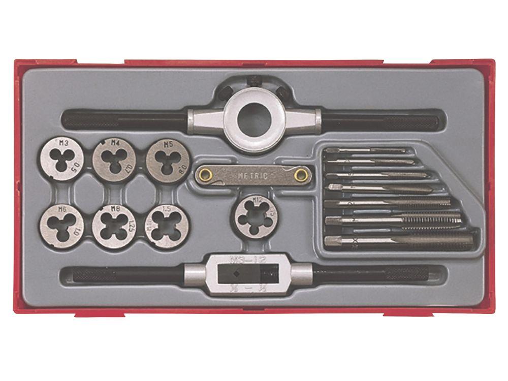 Assortiment de 17tarauds et filières métriques 3-12mm Teng Tools