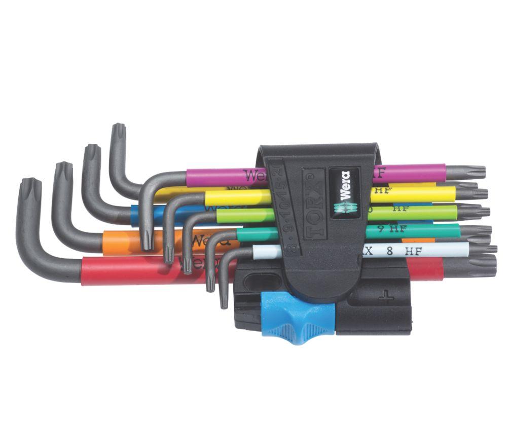 Jeu de 9clés enL BlackLaser multicolores métriques et TX Wera avec fonction de retenue