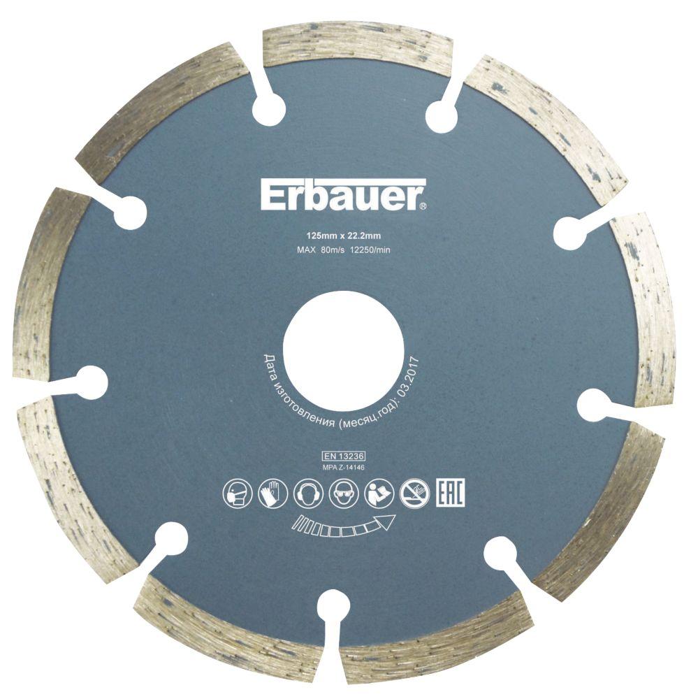 Disque de coupe diamant segmenté pour maçonnerie/pierre Erbauer 125 x 22,2mm