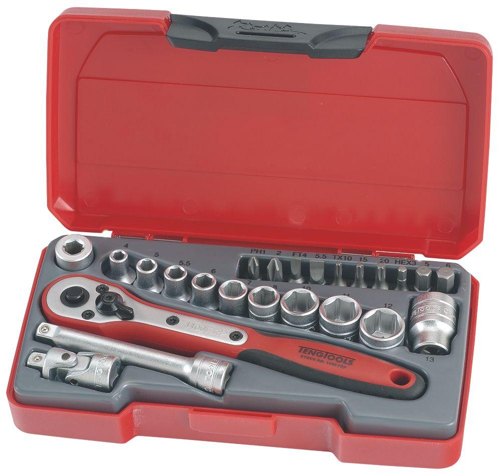 """Assortiment de douilles Teng Tools T1424 1/4"""" 24pièces"""