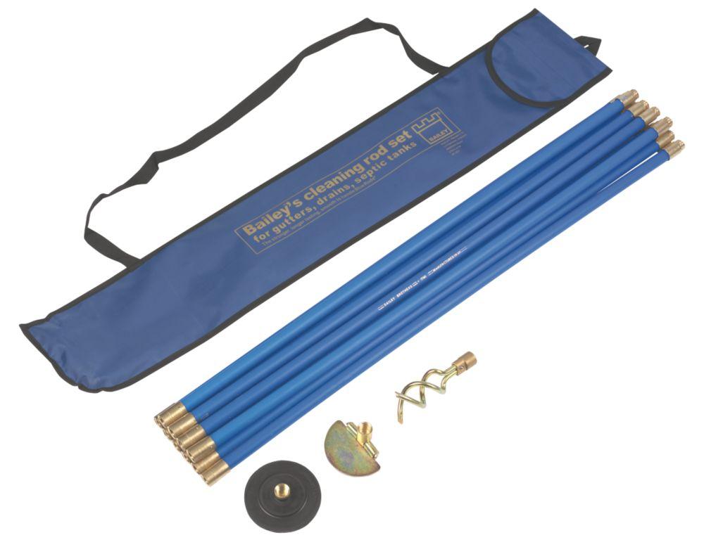 Jeu de cannes de curage bleues raccords laiton Bailey 19mm 9,14m