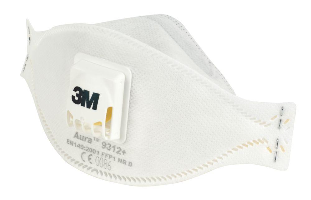 Appareil de protection respiratoire contre les poussières/brouillards à soupape jetable P1 3M Aura9312