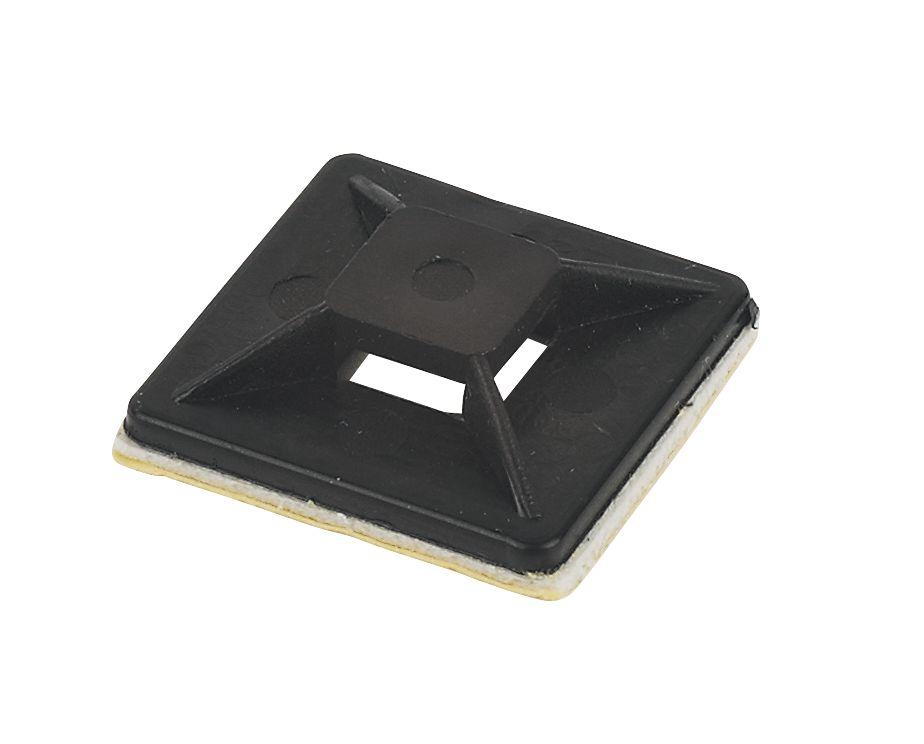 100embases adhésives bidirectionnelles noires 25x 25mm