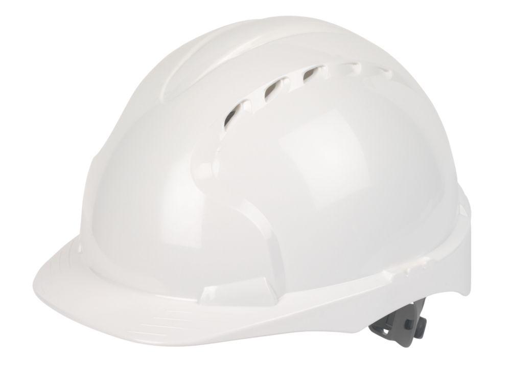 Casque de sécurité ventilé à cliquet coulissant et visière moyenne JSP EVO2 blanc