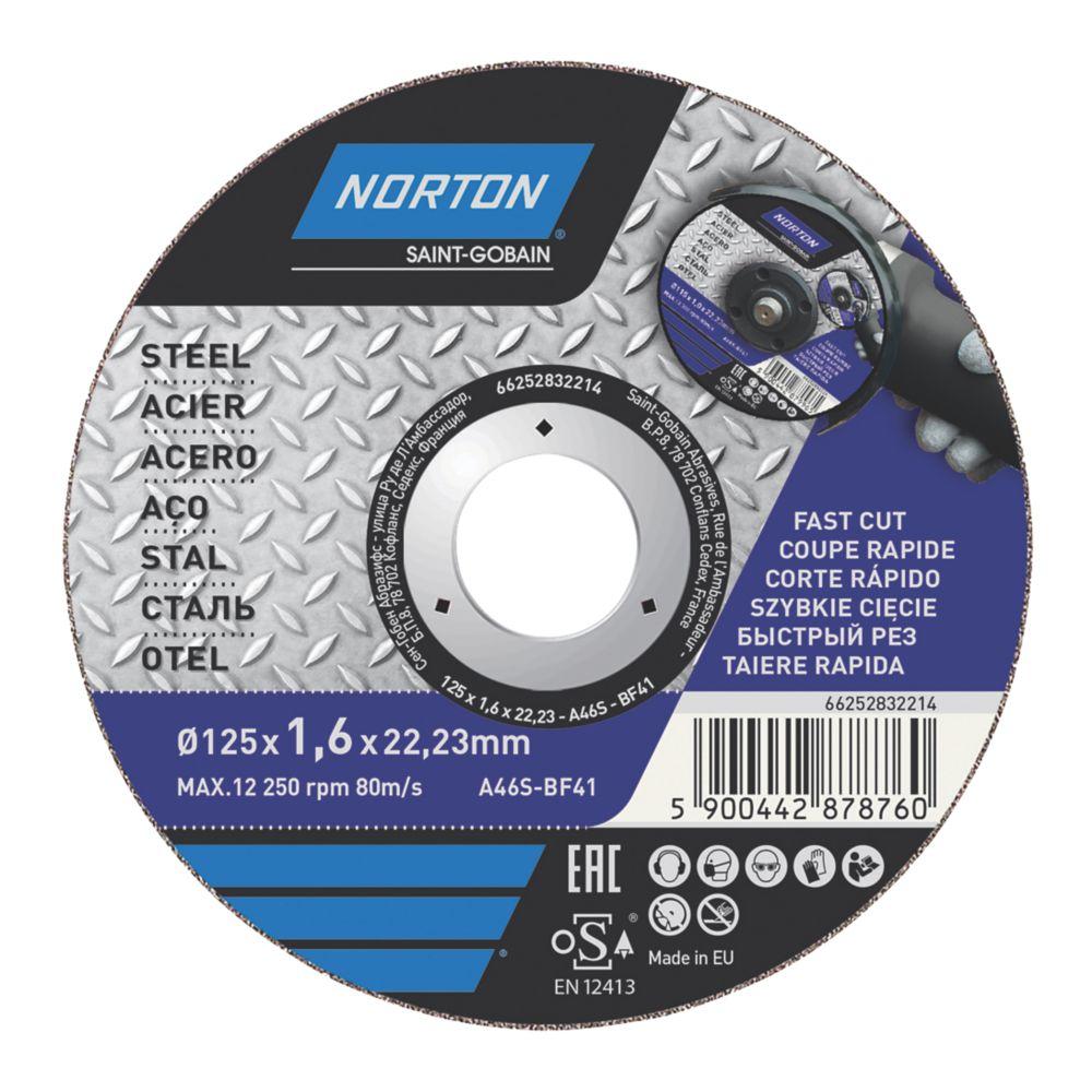 """Disque à tronçonner pour métal Norton 5"""" (125mm) x 1,6 x 22,23mm"""