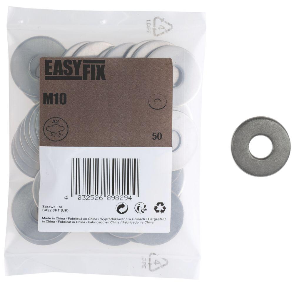 50rondelles en acier inoxydable A2 Easyfix M10 x1,4mm