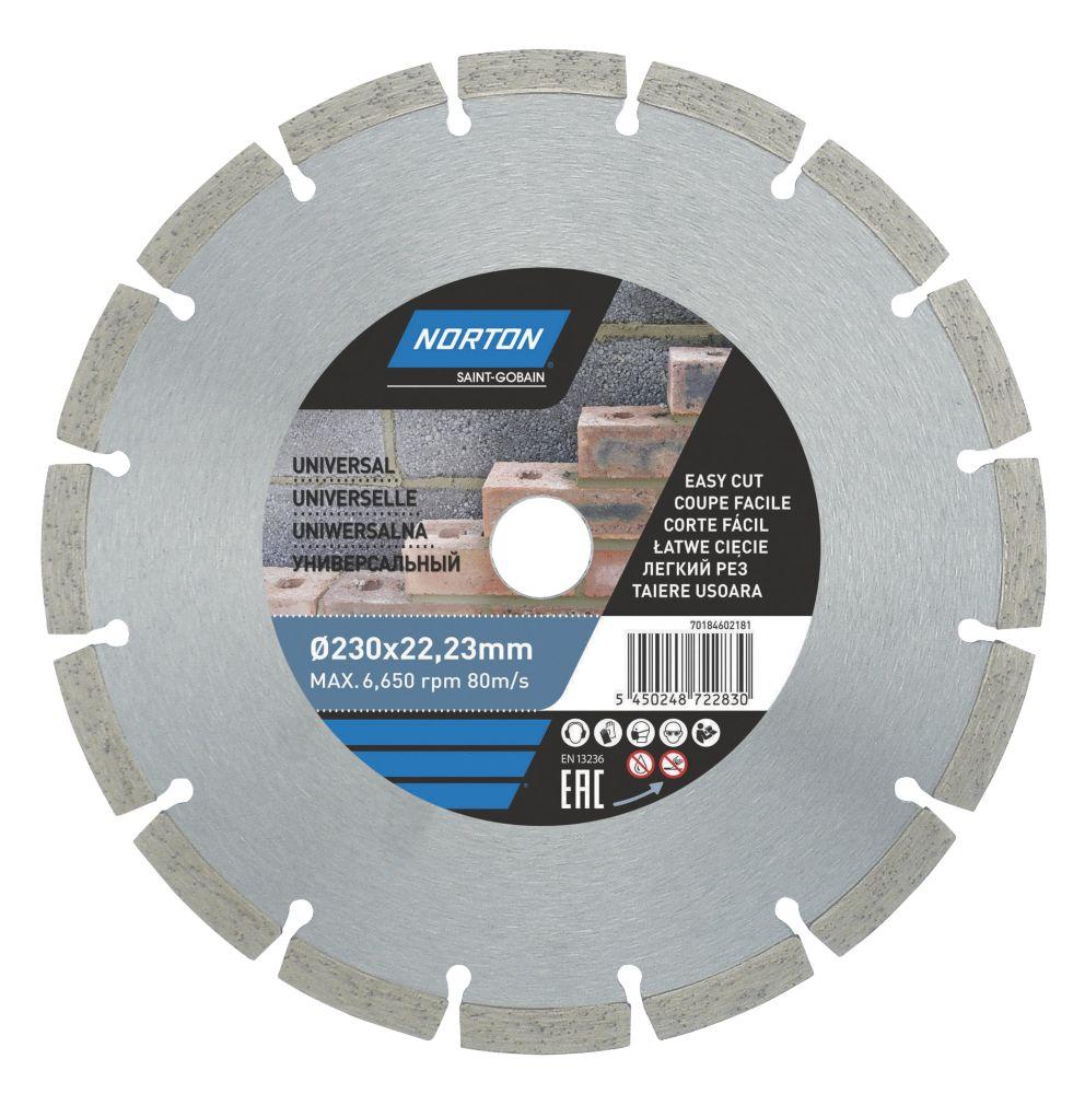 Disque de coupe diamant segmenté pour maçonnerie/pierre Norton 230 x 22,23mm