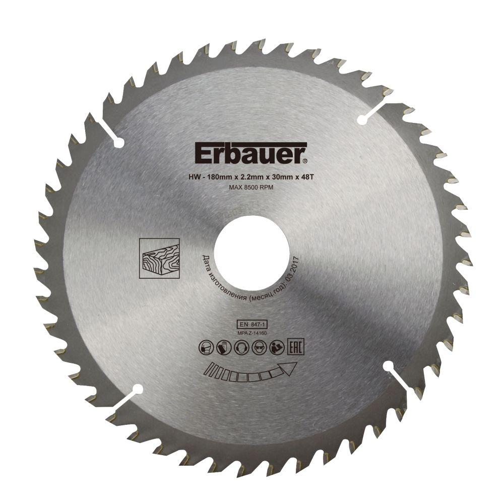 Lame de scie circulaire Bois Erbauer Ø180 x30/20/16 coupe fine 48 dents