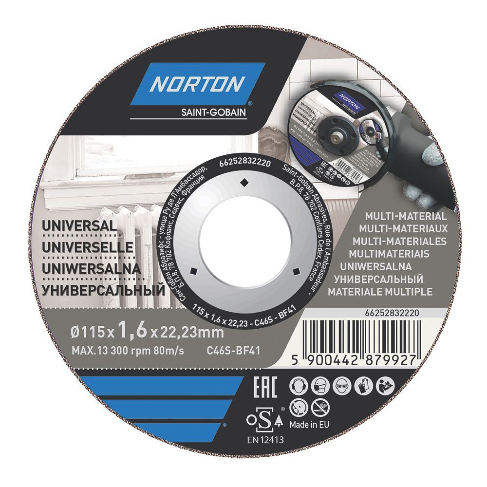 """Lot de 5disques à tronçonner multi-matériaux Norton 4½"""" (115mm) x 1,6 x 22,23mm"""