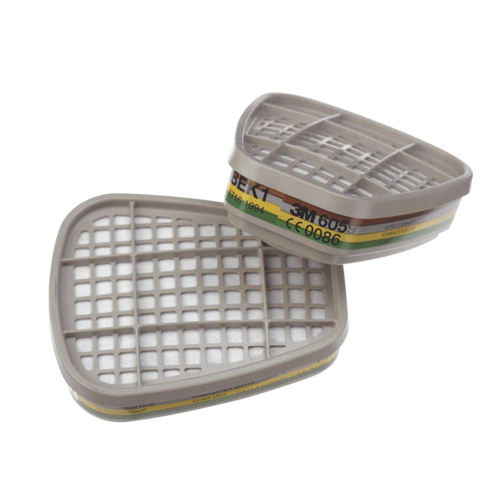 Filtres pour appareil de protection respiratoire réutilisables A1B1E1K1 3M6059, lot de 2