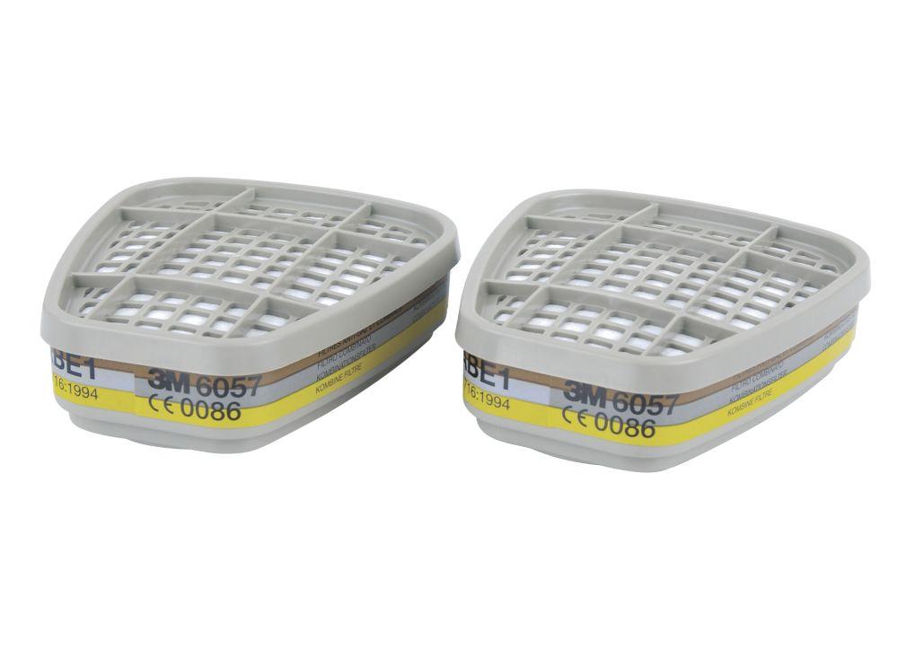 Filtres pour appareil de protection respiratoire réutilisables A1B1E1 3M6057, lot de 2