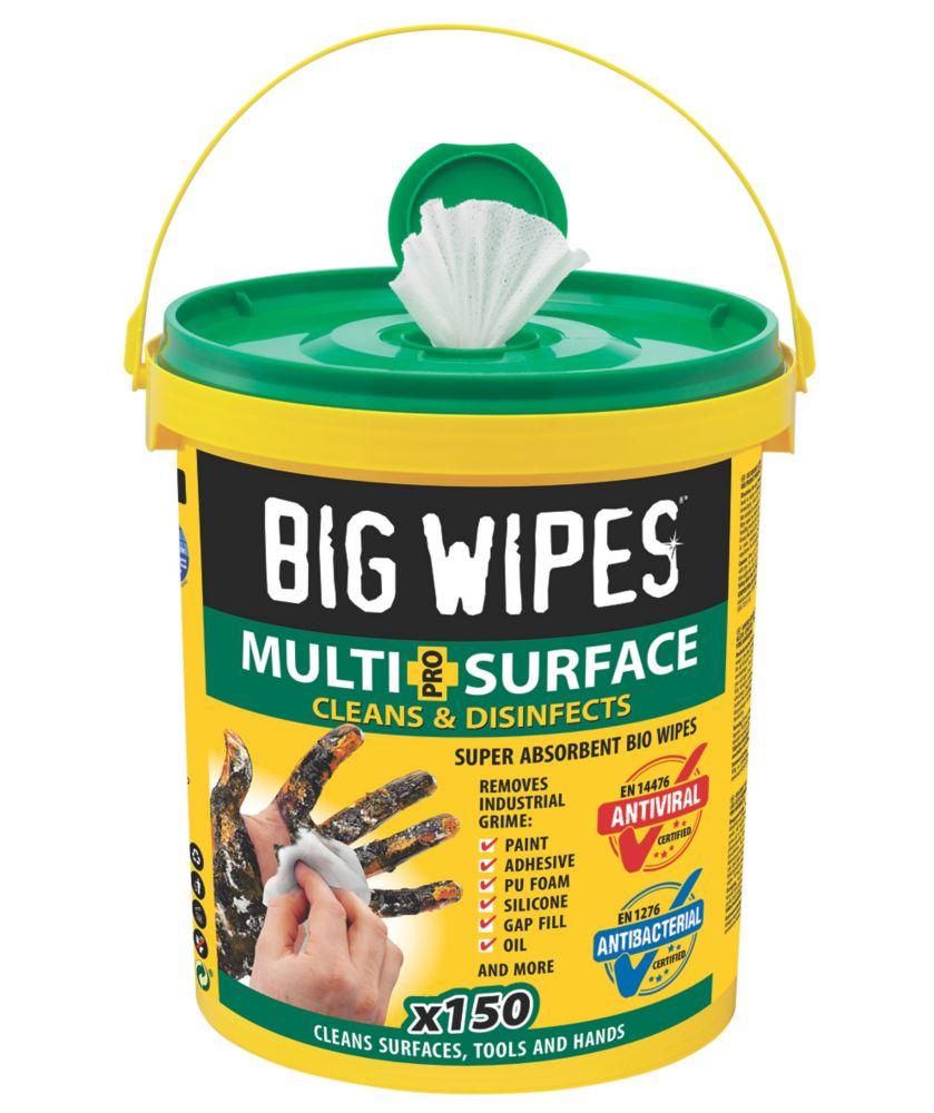 Boîte de 150lingettes nettoyantes multi-surfaces Big Wipes XL blanches