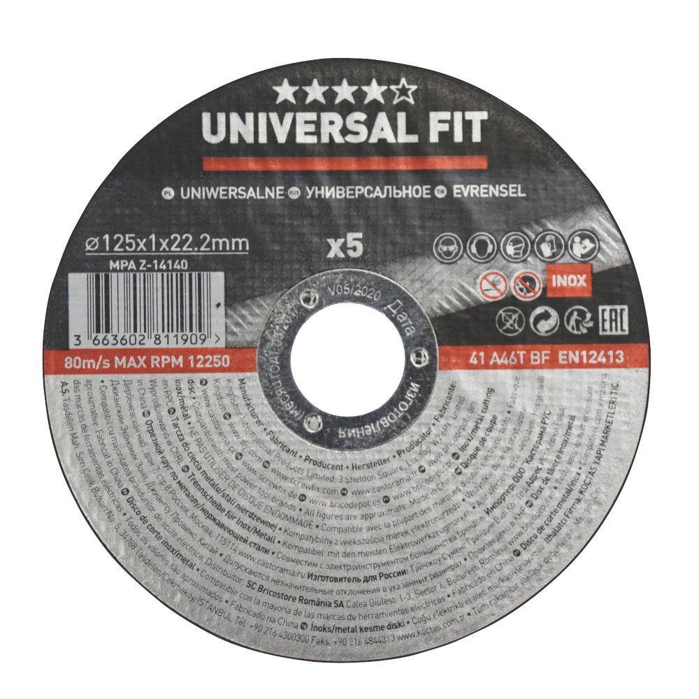 """Disques à tronçonner l'acier inoxydable / le métal 5"""" (125mm) x 1 x 22,2mm, lot de 5"""