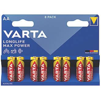Lot de 8piles AA puissance max. longue durée Varta