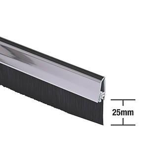 Joint anticourant de-air à brosse pour dessous de porte Stormguard chromé 1m