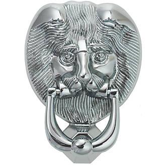 Heurtoir de porte en forme de tête de lion Fab&Fix en chrome poli98 x136mm