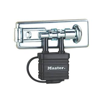 Moraillon et loquet Master Lock avec cadenas intégré argenté 110mm