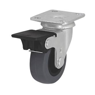 Roulette pivotante en caoutchouc thermoplastique avec frein à usage intensif 50mm