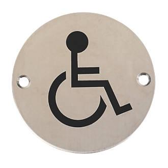 Panneau de signalisation WC handicapés en acier inoxydable satiné 76mm