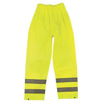 """Pantalon haute visibilité à taille élastique jaune tailleXXL, tour de taille 28-50"""" et longueur de jambe 31"""""""