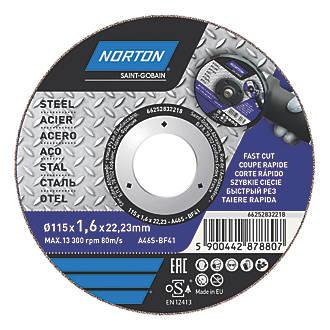 """Lot de 5disques à tronçonner pour métal Norton 4½"""" (115mm) x 1,6 x 22,23mm"""
