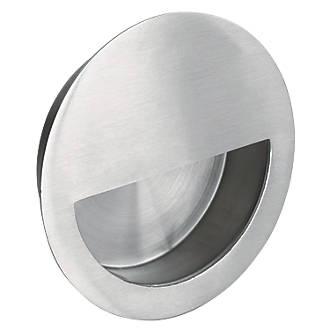 Poignée encastrée circulaire Eurospec avec insert semi-circulaire 89mm en acier inoxydable satiné