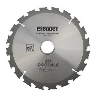 Lame de scie TCT 20dents Erbauer 210 x 30mm