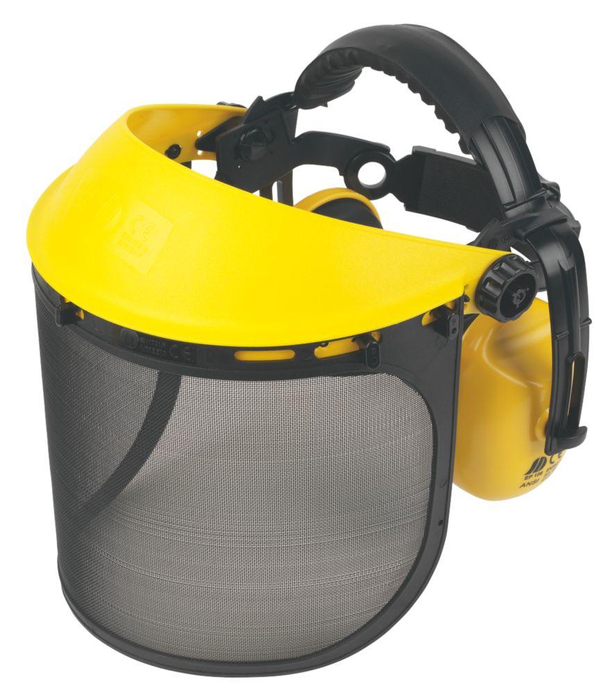 Protection frontale avec casque antibruit Site jaune