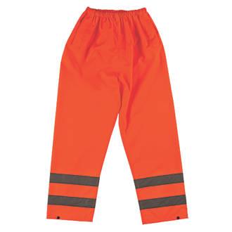"""Pantalon haute visibilité à taille élastique orange tailleL, tour de taille 26-46"""" et longueur de jambe 30"""""""