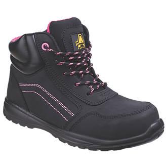 Chaussures de sécurité montantes pour femme sans métal Amblers Lydia noir / rose taille 41