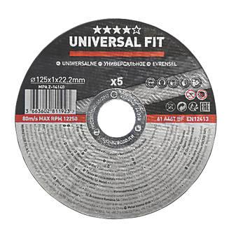 """Disques à tronçonner l'acier inoxydable 5"""" (125mm) x 1 x 22,2mm, lot de 5"""