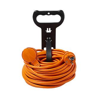 Rallonge orange Diall H05VVF 1 prise 1.5mm² 20m avec clapet