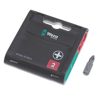 Lot de 20embouts robustes Wera Bit-Box PH2 x 25mm