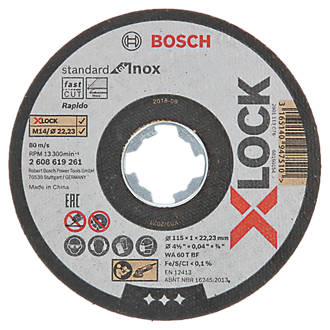 """Lot de 10disques à tronçonner pour acier inoxydable Bosch X-Lock 4½"""" (115mm) x 1 x 22,23mm"""