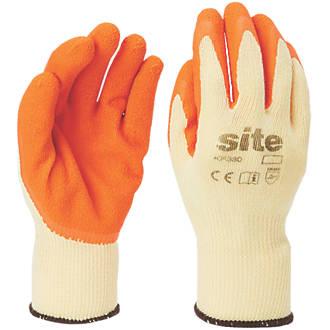 Gants de construction en latex Site KF380 orange / jaune tailleL