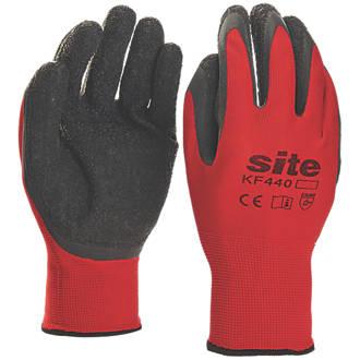 Gants de préhension en latex ultralégers Site KF440 rouge / noir tailleM