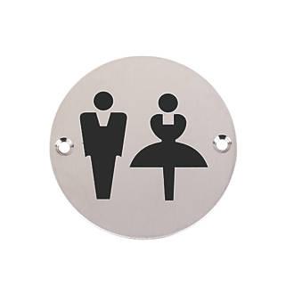 Panneau de signalisation WC unisexe en acier inoxydable satiné 76mm