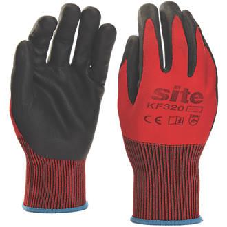 Gants revêtus de mousse de nitrile Site KF320 rouge / noir tailleXL