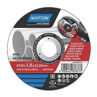 """Disque à tronçonner pour métal/acier inoxydable Norton 5"""" (125mm) x 1 x 22,2mm"""