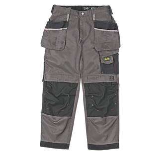 """Pantalon à poches étui Snickers DuraTwill3212 gris / noir, tour de taille 38"""" et longueur de jambe 32"""""""