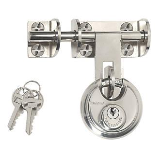 Moraillon et loquet Master Lock avec cadenas à disque argenté 116mm