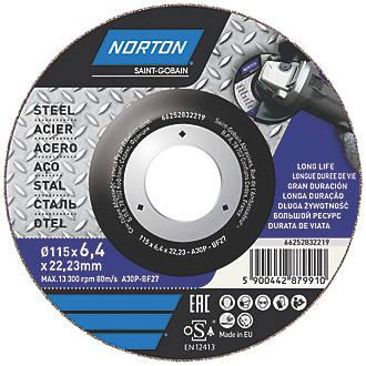 "Lot de 5disques de meulage Norton 4½"" (115mm) x 6,4 x 22,23mm"