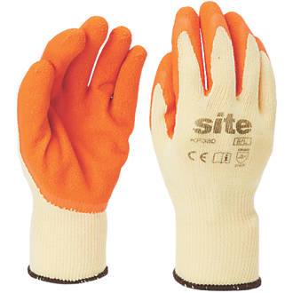Gants de construction en latex Site KF380 orange / jaune tailleM