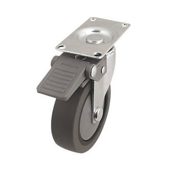 Roulette pivotante en caoutchouc thermoplastique avec frein 75mm