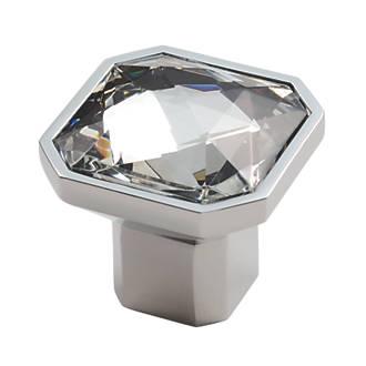 Poignée de meuble carrée en cristal Carlisle Brass en chrome poli 32mm