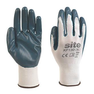 Gants revêtus de nitrile Site KF130 blanc / bleu tailleL