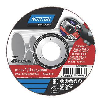 """Disque à tronçonner pour métal/acier inoxydable Norton 4½"""" (115mm) x 1 x 22,23mm"""