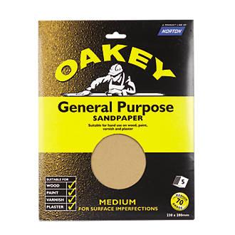Lot de 5feuilles de papier de verre non perforé Oakey 280 x 230mm grain70