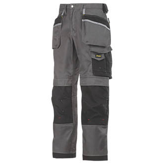 """Pantalon à poches étui Snickers DuraTwill3212 gris / noir, tour de taille 33"""" et longueur de jambe 32"""""""